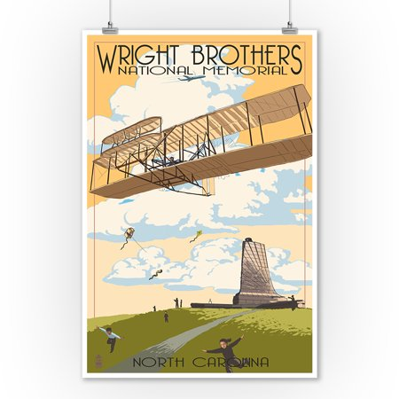 Outer Banks, North Carolina - Wright Brothers National Memorial - Lantern Press Artwork (9x12 Art Print, Wall Decor Travel Poster) ()