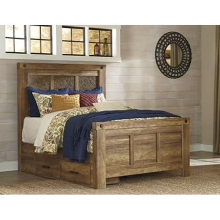 ladimier mansion rails finish golden brown size queen. Black Bedroom Furniture Sets. Home Design Ideas