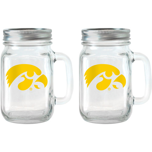 NCAA 16 oz Iowa Hawkeyes Glass Jar with Lid and Handle, 2pk