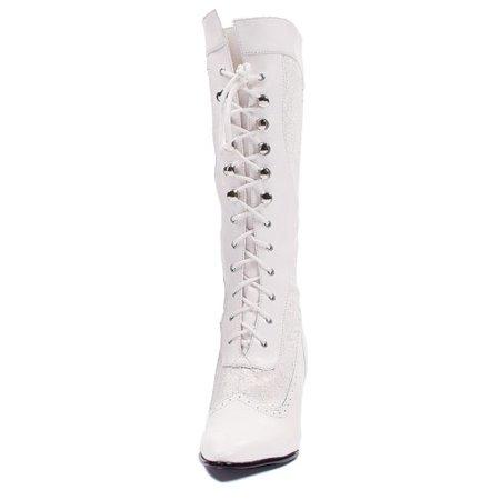 Womens Zip Knee High Boots - White Footwear