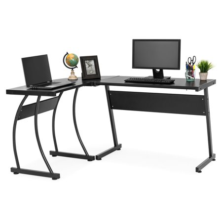 Best Choice Products 3-Piece Home Office L-Shaped Corner Computer Desk Workstation w/ Metal Frame, Foot Pads - Black Apollo Corner Computer