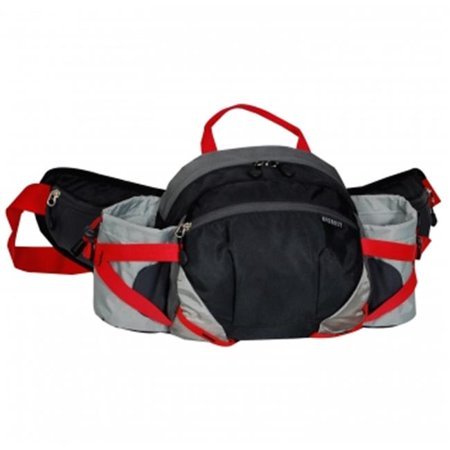 Everest BH17-BK-GRY Outdoor Waist Pack With Bottle Holders - Black & Gray