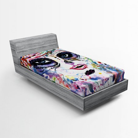 Halloween Makeup Basics (Sugar Skull Fitted Sheet Halloween Girl Sugar Skull Makeup Watercolor Painting Style Creepy Look, Soft Decorative Fabric Bedding, Multicolor, by)