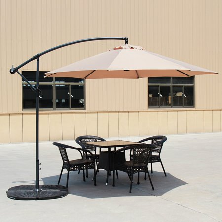 Baner Garden 10' Offset Hanging Patio Adjustable Umbrella Outdoor Parasol Cantilever Set with 4 pieces Heavy Duty Stand, Light Brown (CA-2001-AB) ()