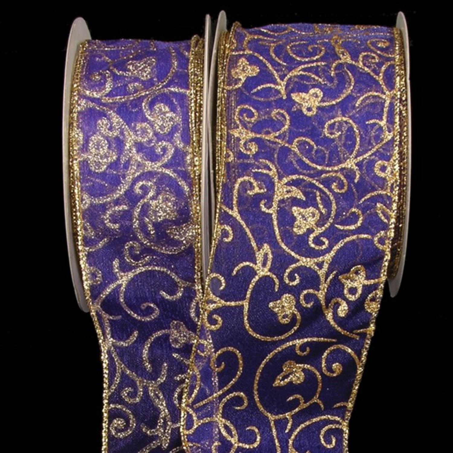 "Sheer Purple with Gold Swirling Floral Print Wired Craft Ribbon 3"" x 40 Yards"