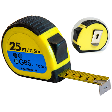 TAPE MEASURE 25 FT in Metric and Inches by GBS, Heavy Duty, Retractable, Quick Read, Thumb Lock, Belt Clip, Sturdy Ruler, Premium Measuring Tape for Professionals and DIY users