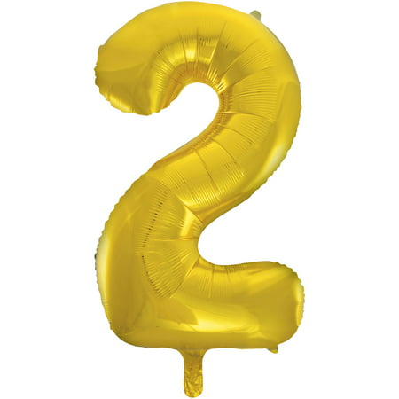 Foil Big Number Balloon, 2, Gold, 34in