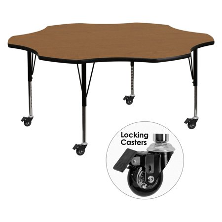 Flash Furniture Mobile 60'' Flower Shaped Activity Table with Oak Thermal Fused Laminate Top and Height Adjustable Preschool Legs 60' Flower Activity Table