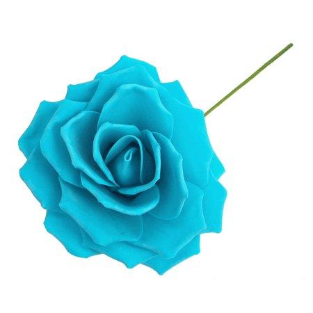 Rose Foam Flower with Stem, Turquoise, 9-Inch - Foam Flower