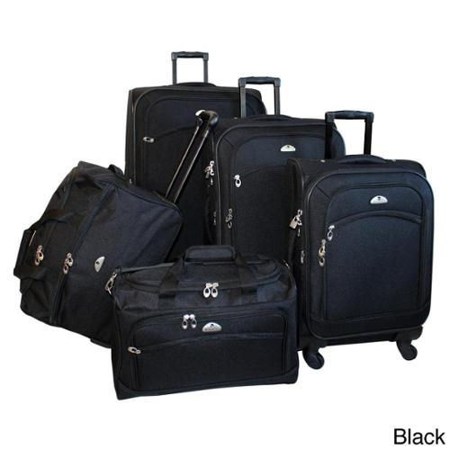 American Flyer South West Expandable 5-piece Spinner Luggage Set Blue