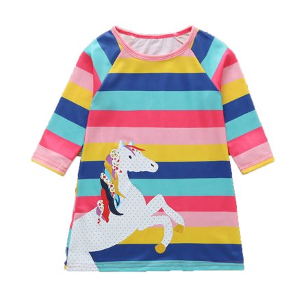 Cute Toddler Baby Kid Girl Long Sleeve Crewneck Rainbow Stripes Unicorn - Baby Girl Rainbow Dress