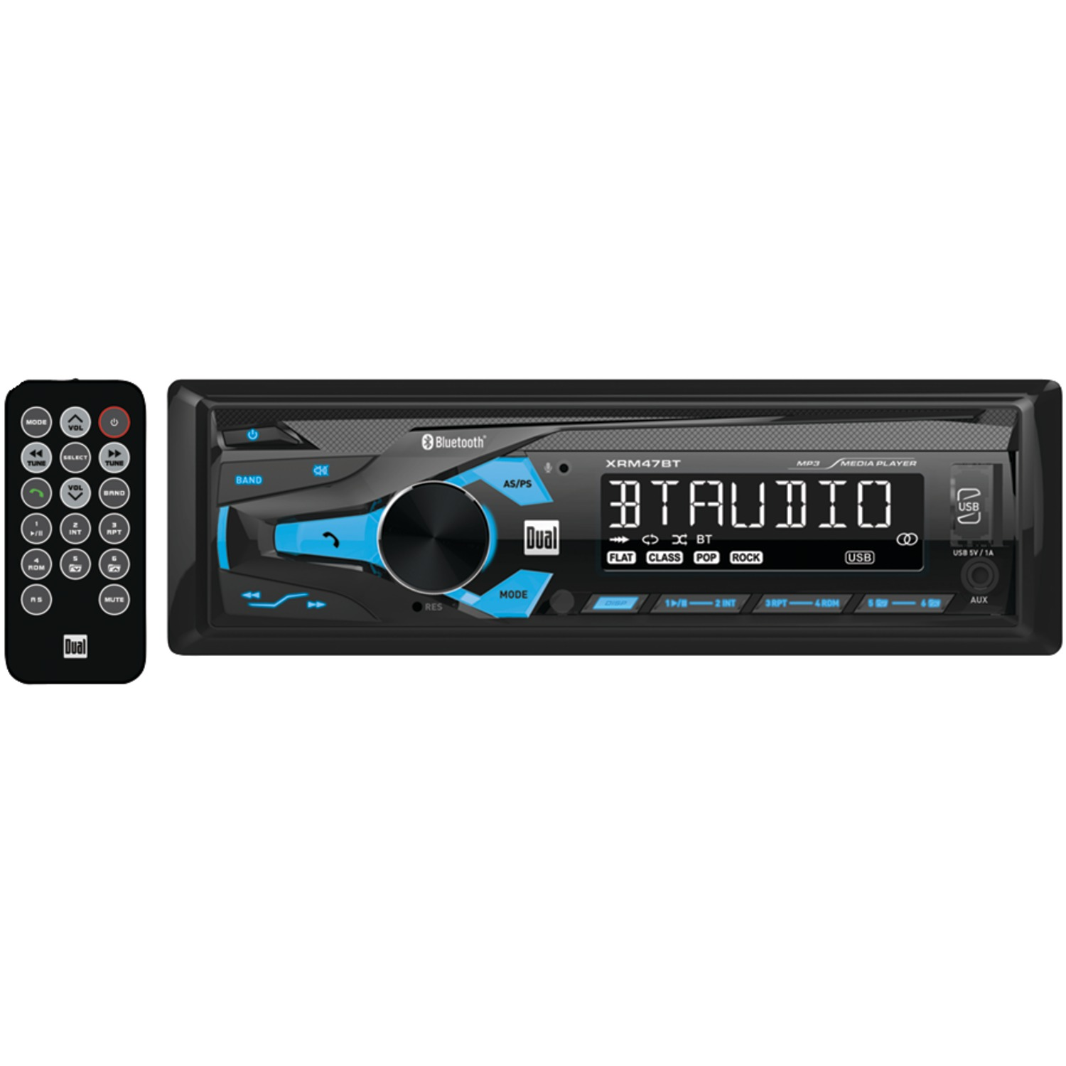 Dual Xrm47bt Single Din In Dash Mechless Am Fm Receiver With Usa Seller Car Audio 12pin Stereo Wire Harness Radio Power Plug Bluetooth