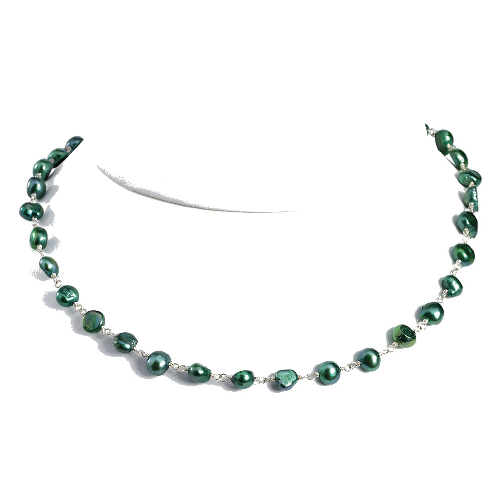 Sterling Silver 16 Inch Green Freshwater Cultured Pearl Necklace by Goldia