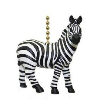 African Safari Plains Zebra Stripes Ceiling Fan Light Pull