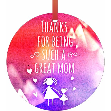 Grunge Ornament (Thanks for Being Such a Great Mom Watercolor Grunge Print - Mother Appreciation Gift Round Shaped Flat Semigloss Aluminum Christmas Ornament Tree Decoration )