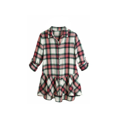 - Women's Tunic Top - Pink Plaid Flannel Button Down Roll Tab Sleeve Shirt