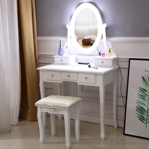 Ktaxon Vanity Table 10 LED Lights, 5 Drawers Makeup Dressing Desk with Cushioned Stool Set,Bedroom Vanities Set White