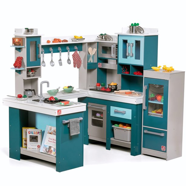 Step2 Grand Walk In Wood Play Kitchen With 15 Piece Accessory Play Set Walmart Com Walmart Com