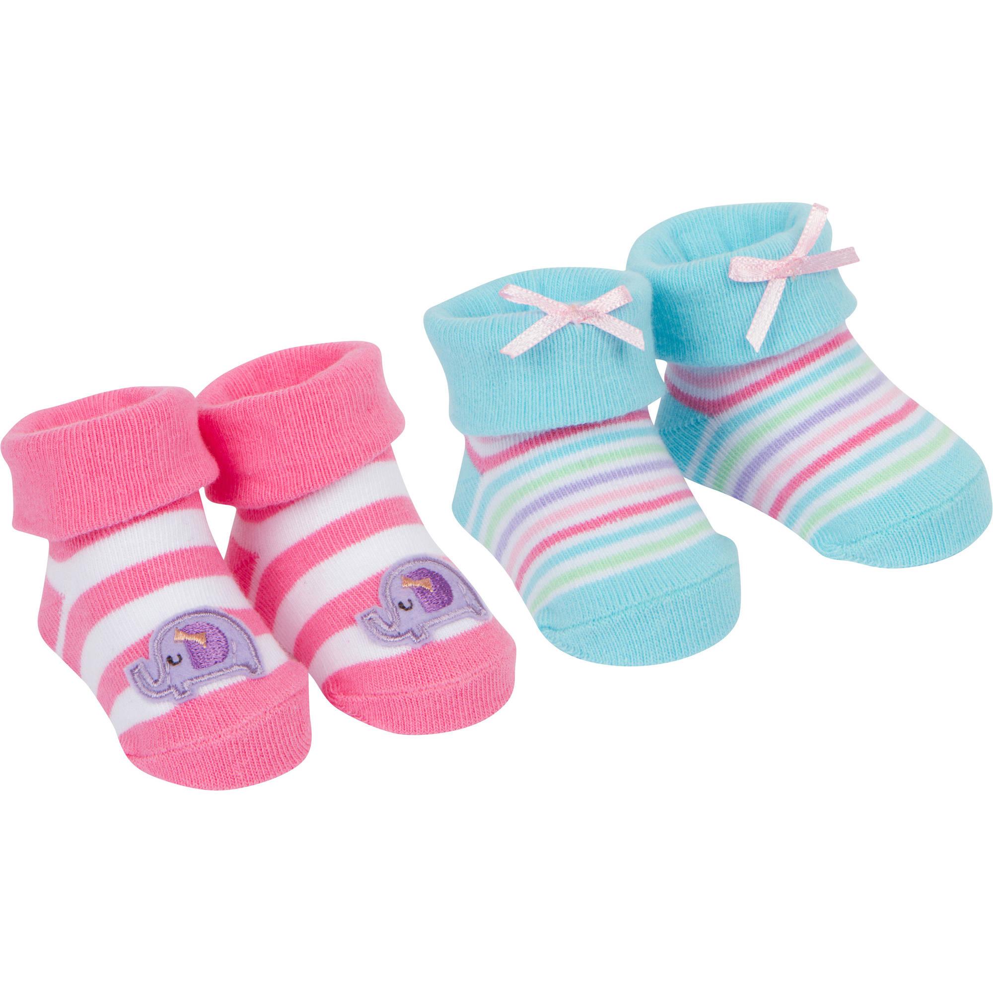 Newborn Baby Girl Jersey Bootie Sock, 2-Pack