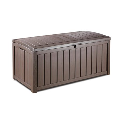 Keter Glenwood Plastic Deck Storage Container Box Outdoor Patio Furniture 101 Gal Brown ()