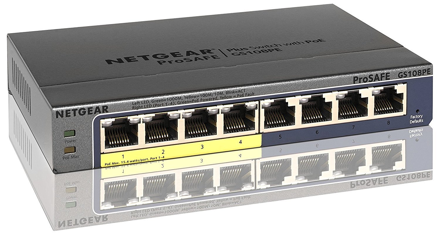 Ethernet Switch, Netgear Gs108pev3 8 Port Home Portable Gaming Ethernet Switch by NETGEAR