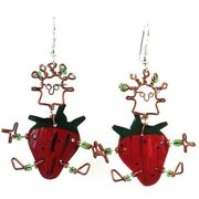 Creative Alternatives Dancing Girl Strawberry Earrings