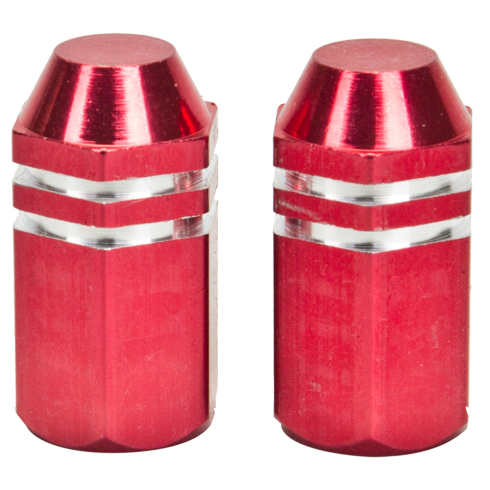 Trick Top Valve Caps Finned Red