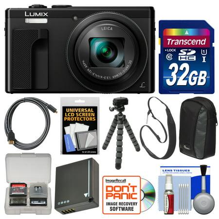 Panasonic Lumix DMC-ZS60 4K Wi-Fi Digital Camera (Black) with 32GB Card + Case + Battery + Flex Tripod + HDMI Cable + Sling Strap + Kit