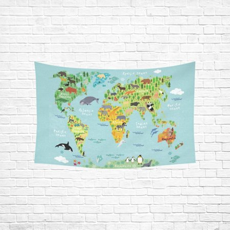 YKCG Home Decoration Map of the World with Animals Wall Hanging Tapestry 90 x 60 Inches