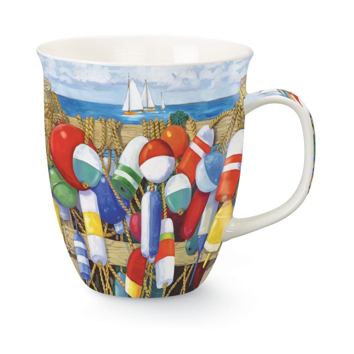 Coastal Buoys of All Sizes and Colors Coffee Latte Tea 16 Ounce Mug Cup