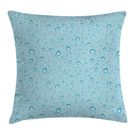 Aqua Throw Pillow Cushion Cover, Big Small Water Rain Drops Liquidity Oceanic Pelagic Naval Seafaring Maritime Image, Decorative Square Accent Pillow Case, 24 X 24 Inches, Light Blue, by Ambesonne