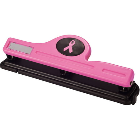 Officemate Pink Ribbon 3-Hole Punch, 12-Sheet Capacity