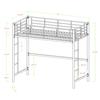 Walker Edison Premium Metal Junior Twin Loft Bed - White