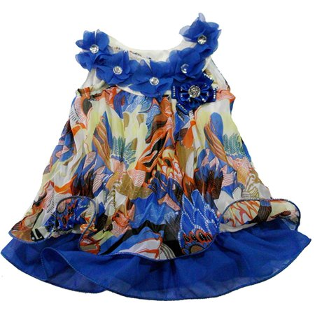 Wenchoice Girl'S Blue Colorful Crinkling Chiffon Swing  -