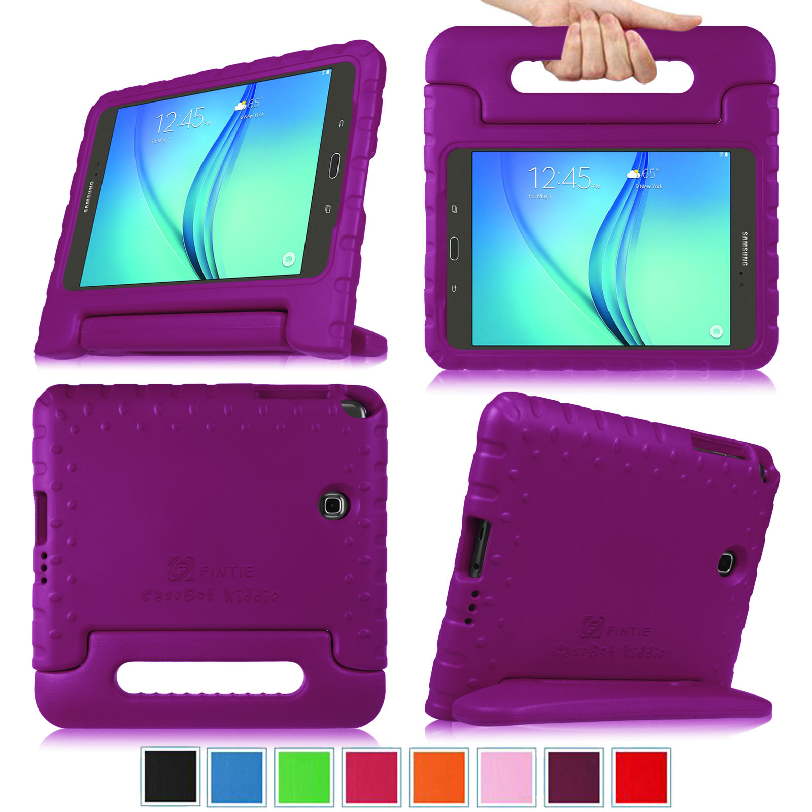 Samsung Galaxy Tab A 8.0 Inch SM-T350 Tablet Kiddie Case - Fintie Lightweight Shock Proof Handle Stand Cover, Purple