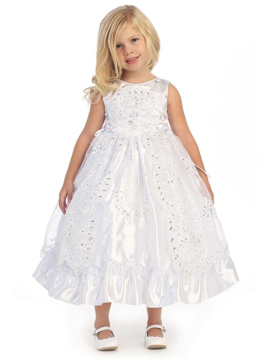 Angels Garment Baby Girls White Satin Organza Cape Baptism Dress