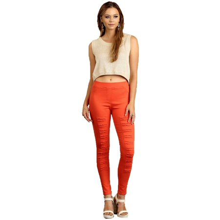 d0e84227d5401 Umgee - High Waist Distressed Jegging, Orange - Walmart.com