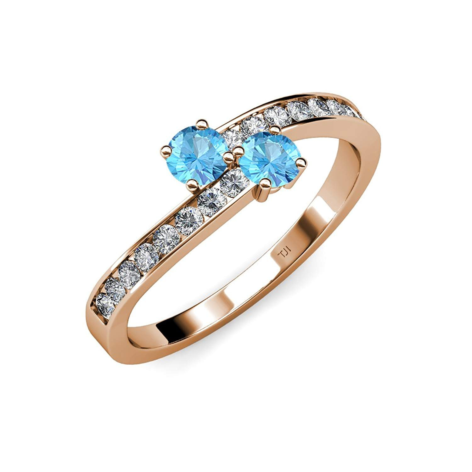 Blue Topaz 2 Stone with Side Diamonds Bypass Engagement Ring 1.32 ct tw in 14K Rose Gold.size 8.5 by TriJewels