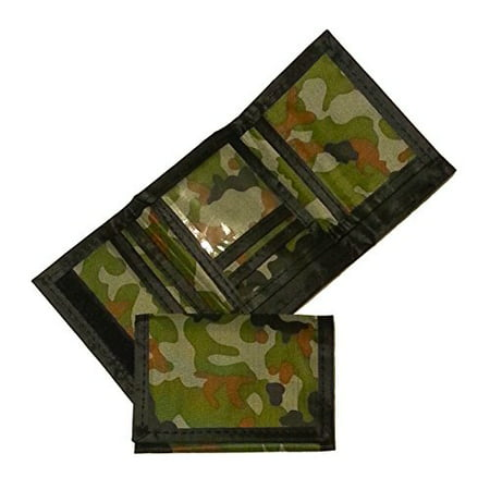 Army Camouflage Wallet Nylon Velcro Trifold Kids Wallets for Boys Camo Hunting (1) (Camo Wallet Clutch)
