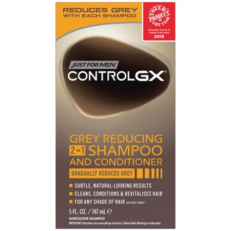 Just For Men Control GX, Grey Reducing 2 in 1 Hair Color Shampoo and Conditioner that Gradually Reduces Grey, 5 Fluid