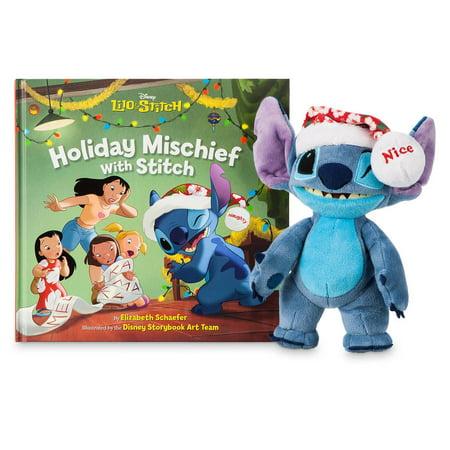 Disney Stitch Mini Bean Bag Plush and Holiday Mischief Stitch Book Set New