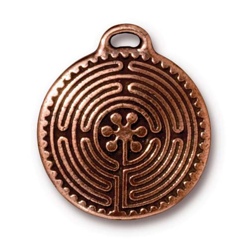 Antiqued Copper Plated Labyrinth Round Pendant 26.5mm (1)