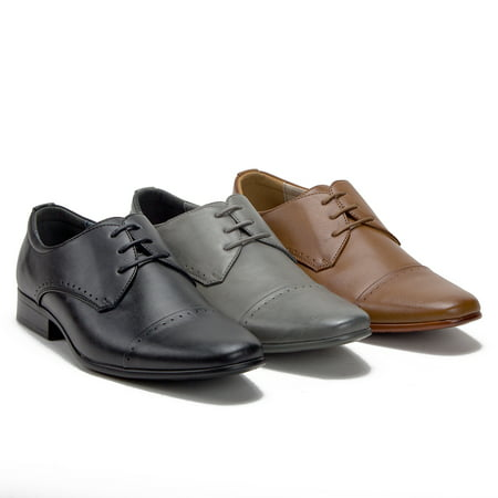 Lace Lined Oxfords (Men's 79893 Leather Lined Cap Toe Lace Up Oxfords Dress Shoes)