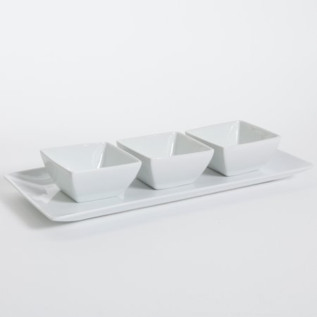 Gibson Elite Gracious Ceramic Serving Dish Set with Tray (4 Pieces), - Aluminum Serving Dish