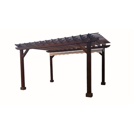 14 ft. x 14 ft. Mission Brown Redwood Pergola (Best Wood For Pergola)