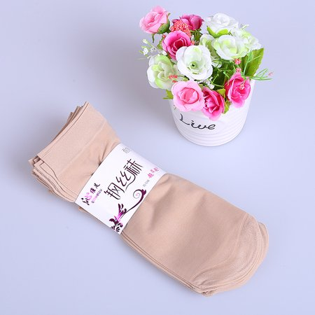 10 Pair Women Girl Casual Solid Color Short Silk Stockings for Christmas/New Year Gift Skin Color