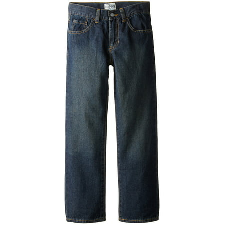 Dark Boy's Straight Leg Seamed 5-Pocket Stretch Jeans 8
