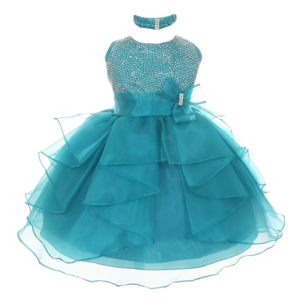 Little Girls Teal Organza Rhinestuds Bow Sash Flower Girl Dress 3T