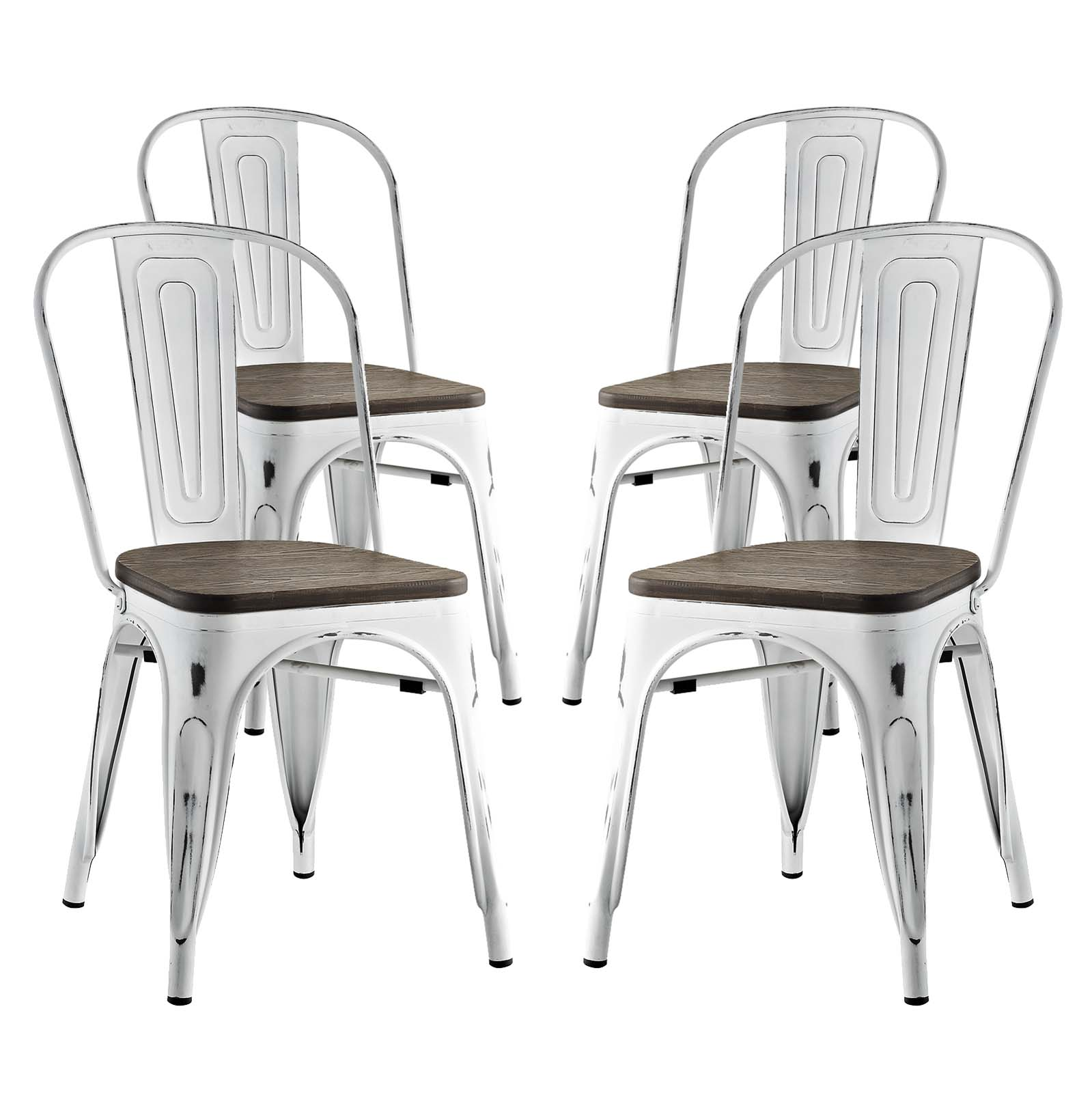 Modern Contemporary Urban Design Industrial Distressed Antique Vintage Style Kitchen Room Dining Chair ( Set of 4), White, Metal