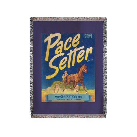Pace Setter Horse Racing Vegetable Label (60x80 Woven Chenille Yarn Blanket)
